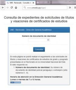 Interfaz web en el dominio UNE.